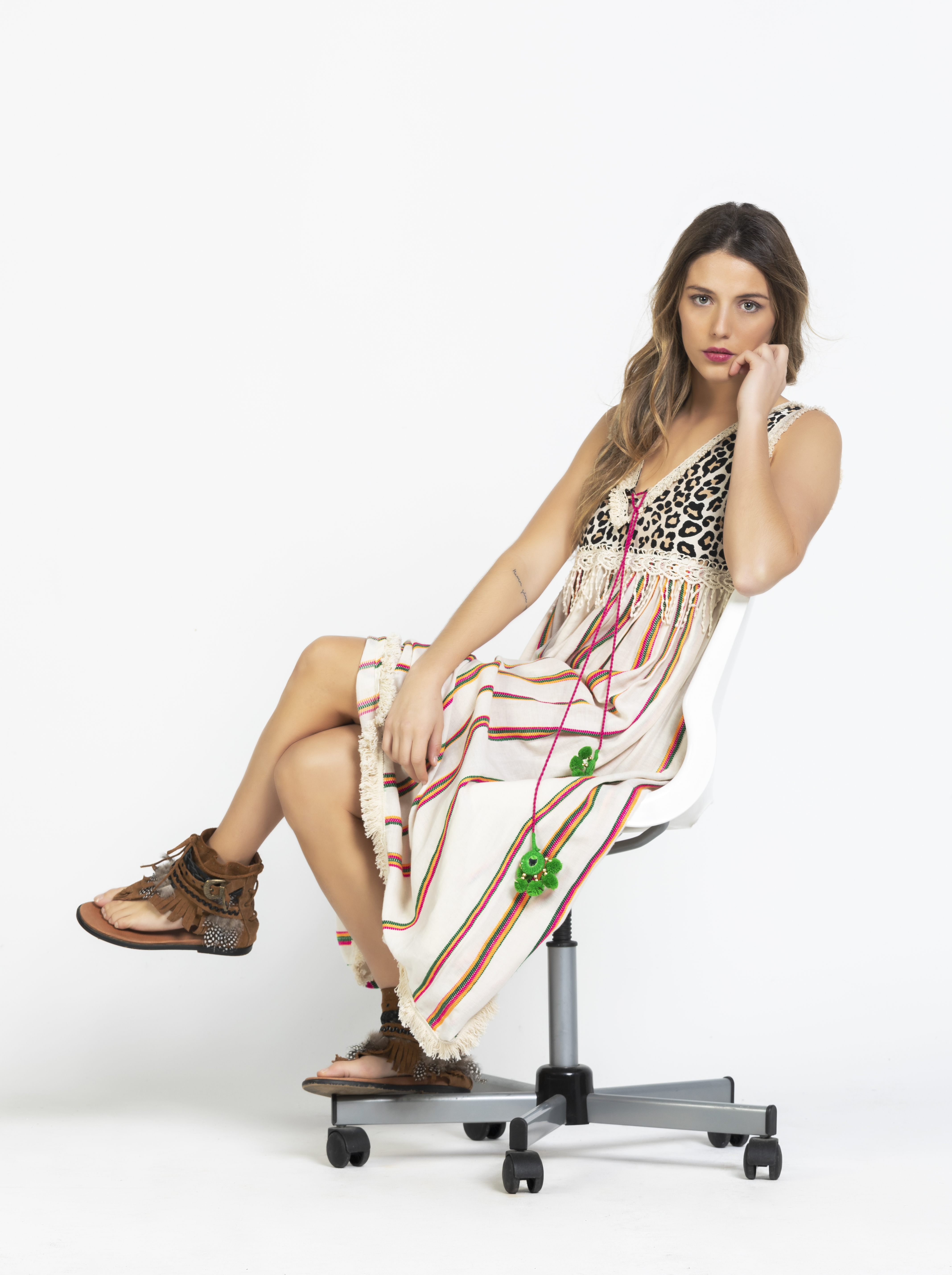 Savage culture: Pink Leopard Boho Maxi Dress