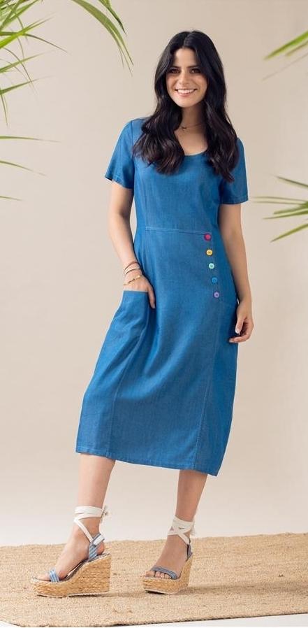Maloka: Soft Denim Midi Dress Bernice MK_BERNICE