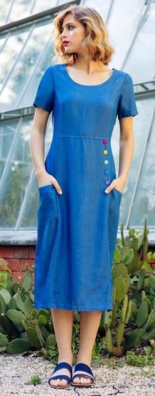 Maloka: Soft Denim Midi Dress Bernice