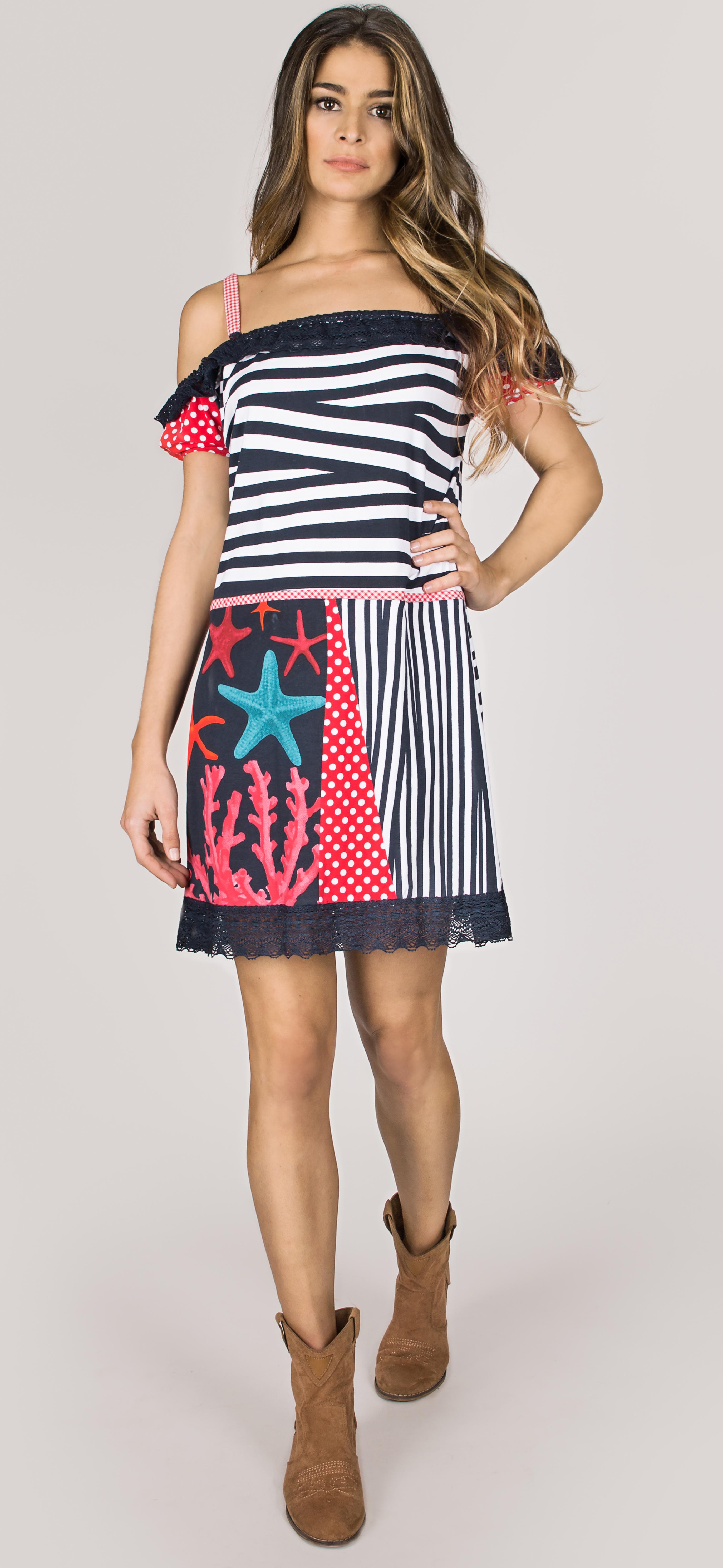 Shoklett Spain: Pink Coral Cotton Ruffled Short Dress Zoey SHOKLETT_10082S19DR