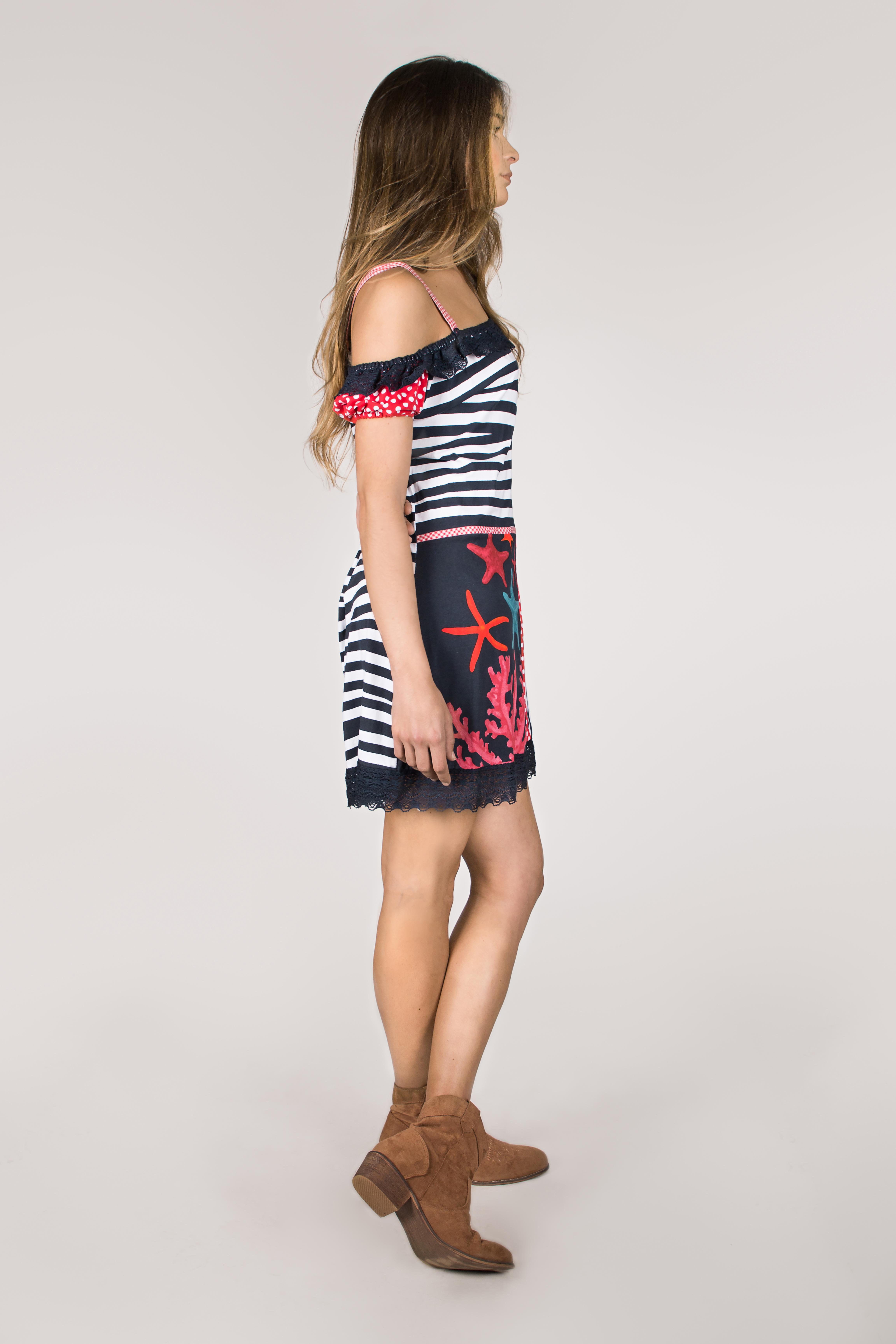 Shoklett Spain: Pink Coral Cotton Ruffled Short Dress Zoey