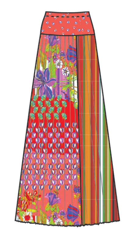 Paul Brial: Tantalizing Crinkled Patchwork Of Tulips Maxi Skirt (1 Left!)