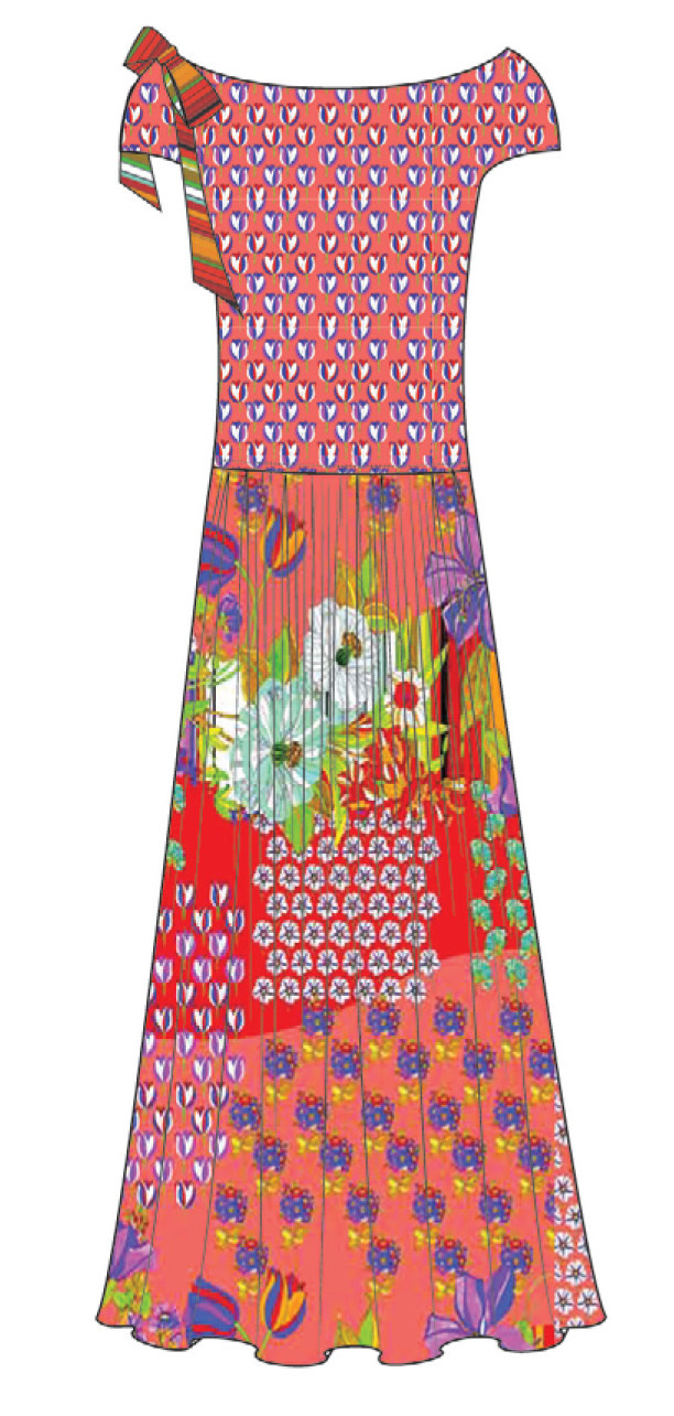 Paul Brial: Tantalizing Crinkled Patchwork Of Tulips Maxi Dress (1 Left!)