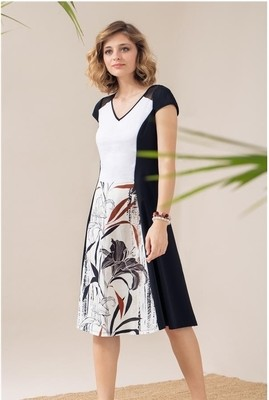 d74ebd7812b Maloka  Black Lily Sketch Art Mixed Media Midi Dress