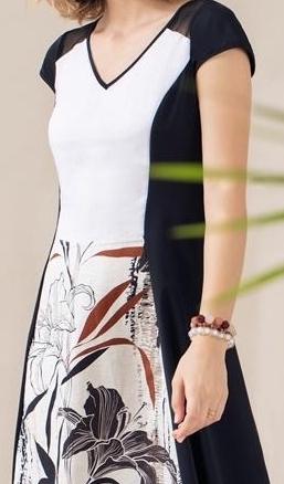 Maloka: Black Lily Sketch Art Mixed Media Midi Dress