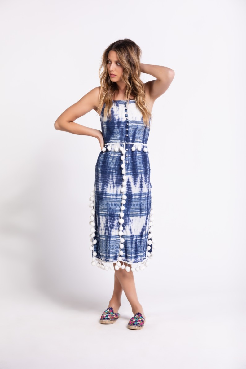 Savage Culture: Bubbles Tie Dye Cotton Midi Dress Downey SAVAGE_36041
