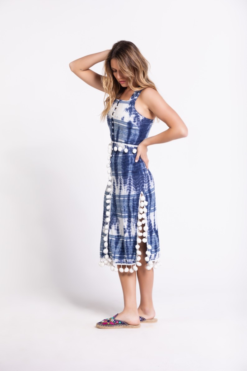 Savage Culture: Bubbles Tie Dye Cotton Midi Dress Downey