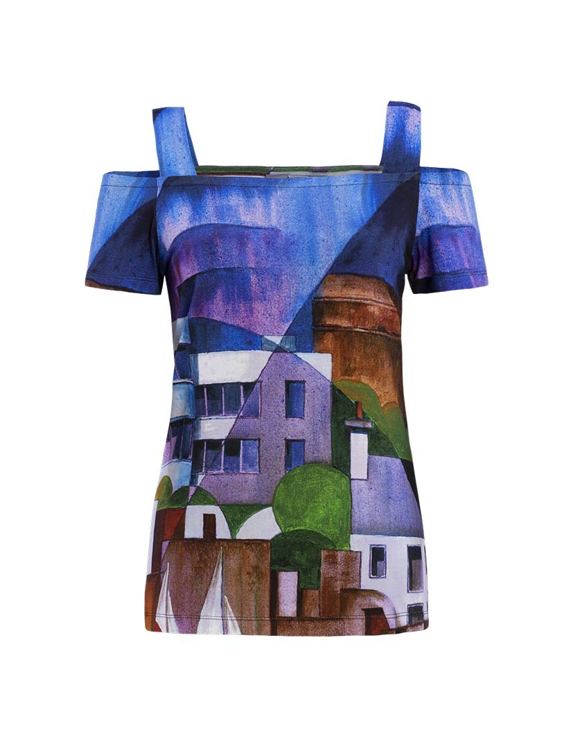 Simply Art Dolcezza: Sandycove Harbor Abstract Art Cold Shoulder Tunic DOLCEZZA_SIMPLYART_19601_N