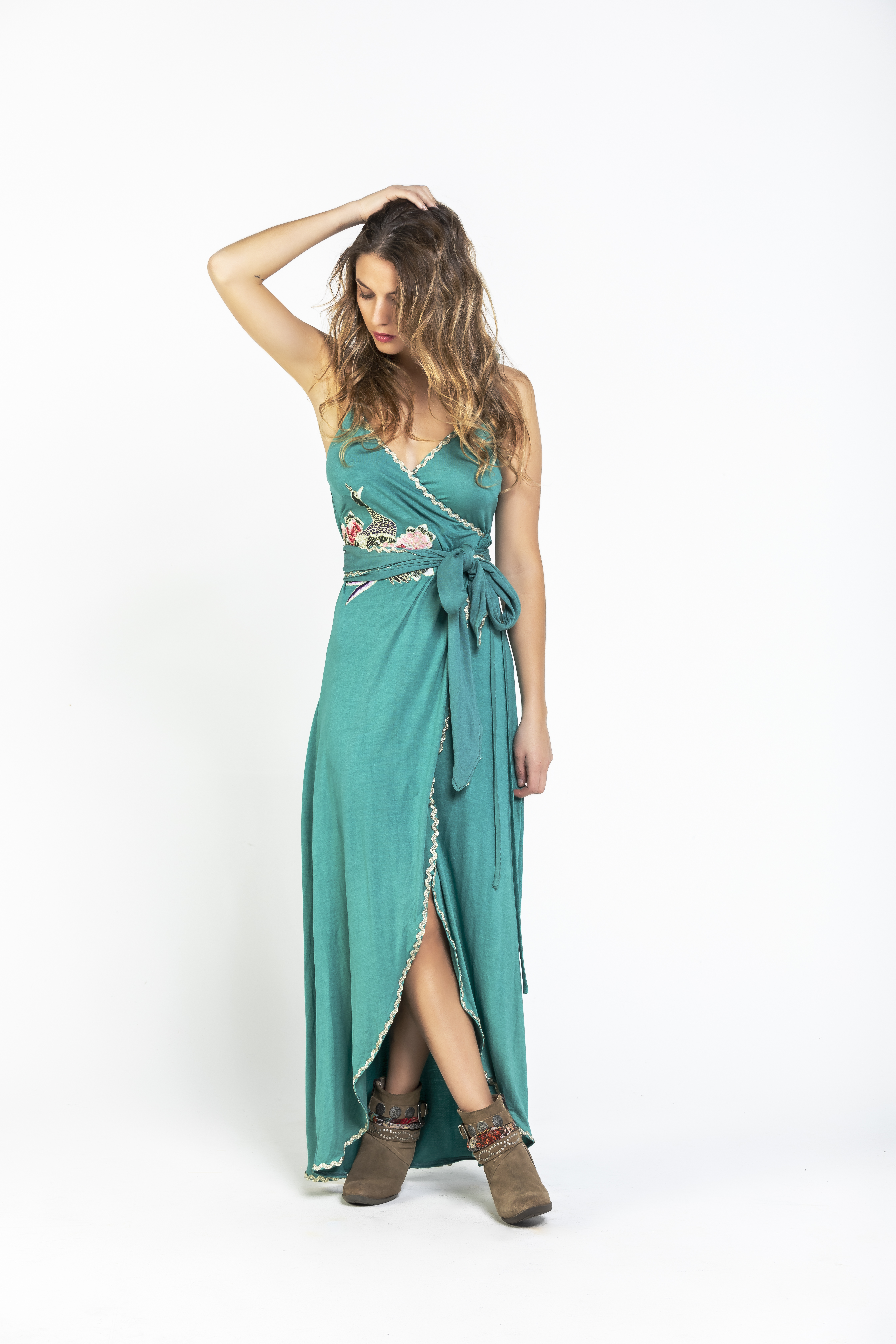 Savage Culture: Sea Green Tied Waist Maxi Dress Riverside SAVAGE_36071