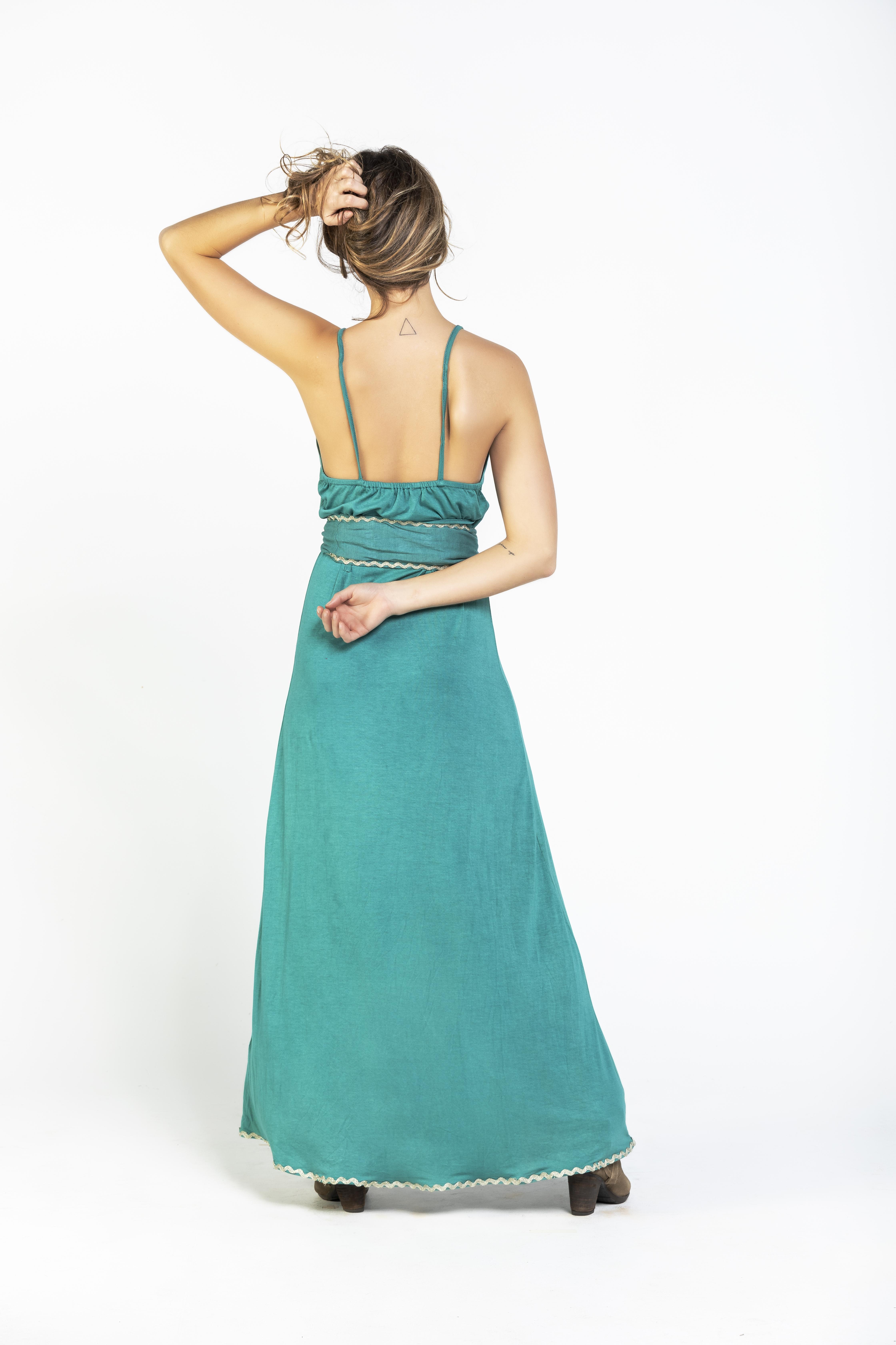 Savage Culture: Sea Green Tied Waist Maxi Dress Riverside