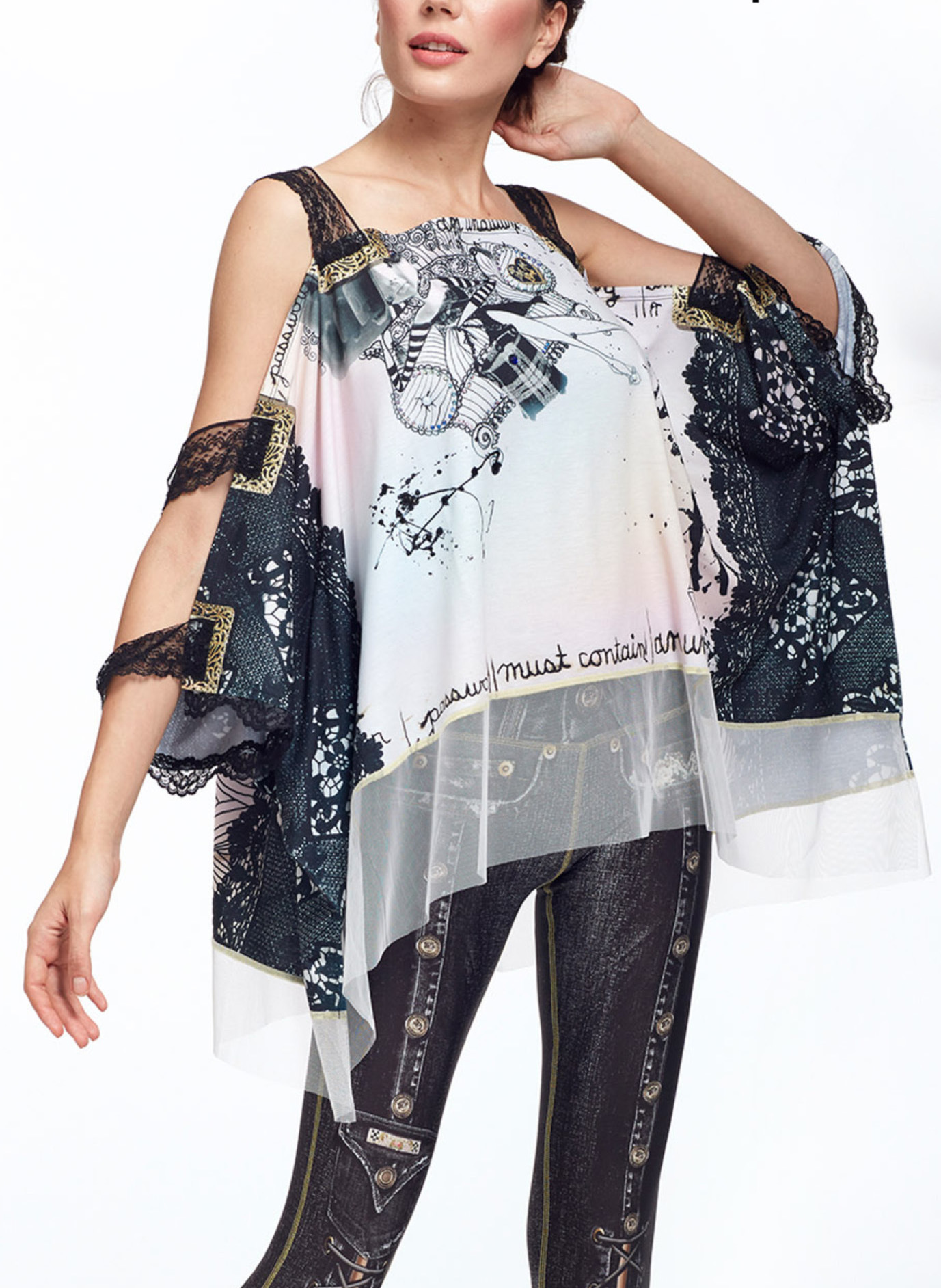 IPNG: Love Me Black BeJeweled Illusion Shawl Blouse Tunic IPNG_LMBSB-089