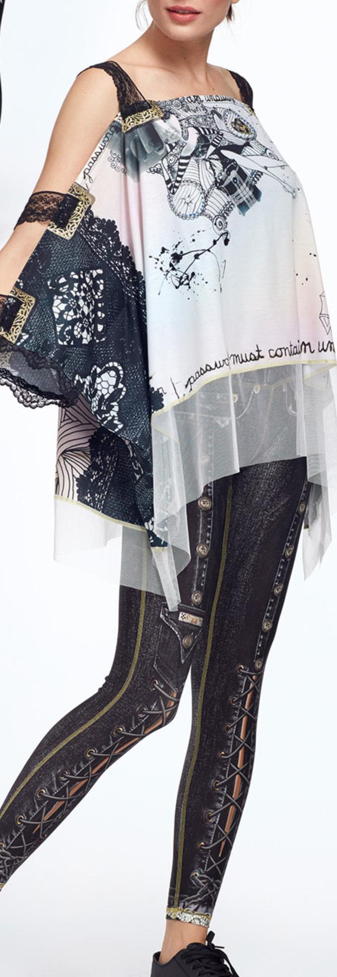 IPNG: Love Me Black BeJeweled Illusion Shawl Blouse Tunic