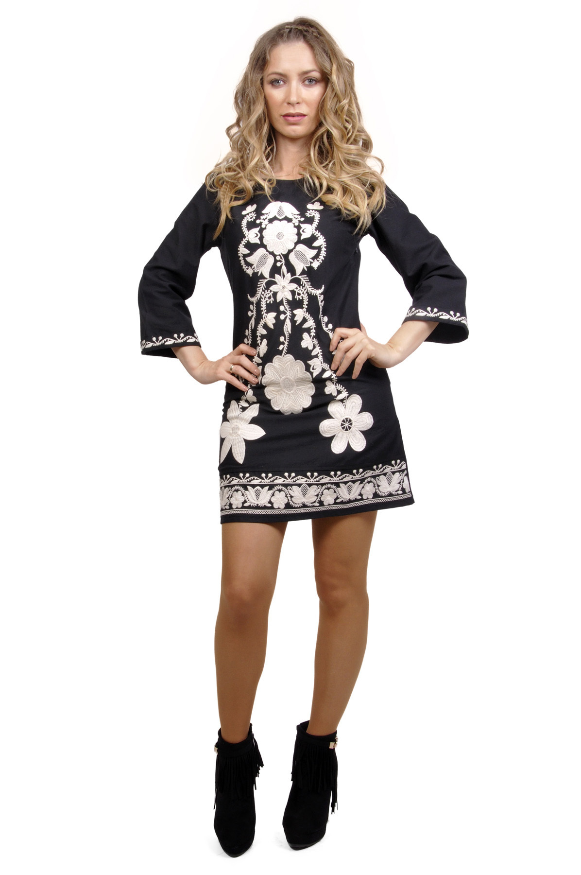 Savage Culture: Snowflakes Odile Embroidered Dress (1 Left!)
