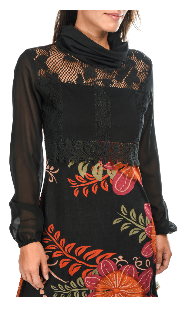 Savage Culture: Orange Cosmos Embroidered Blouson Dress Lola (1 Left!)