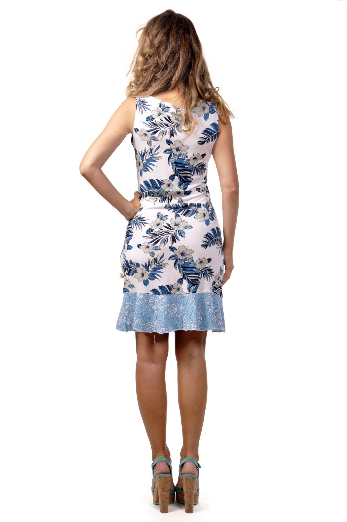 Savage Culture: Ruffled Blue Carnations Sleeveless Mavi Sundress
