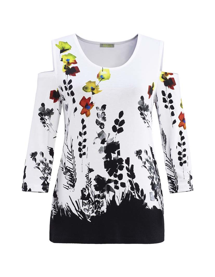 Dolcezza: Stunning Ink Floral Designed Cold Shoulder Tunic (2 Left!) DOLCEZZA_19121