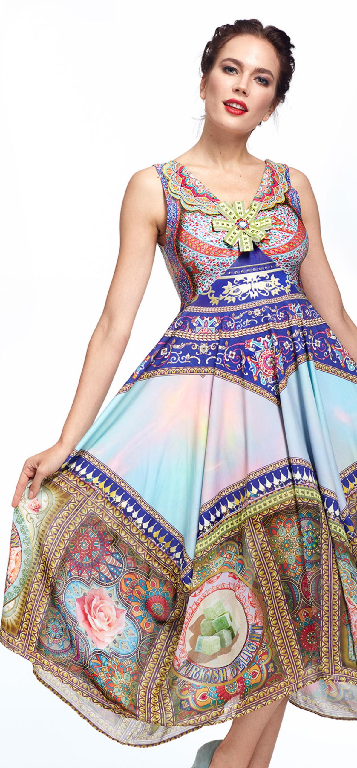 IPNG: Pink Lotus Lokoometric Flared Illusion Dress IPNG_LOMDFC-037
