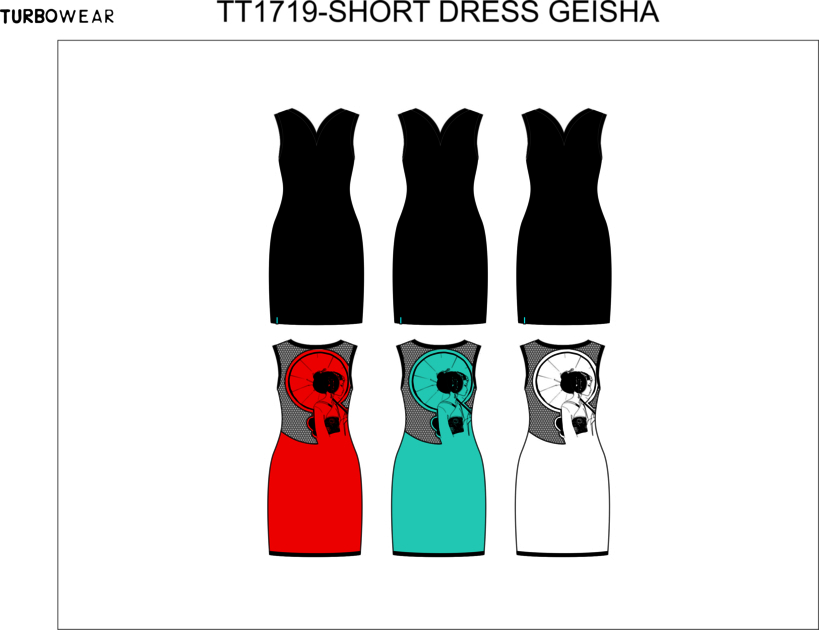 Pygmees Paris: Bring It Back! Color Intrigue Geisha Dress (Only available in: Black Front, Turquoise Back)