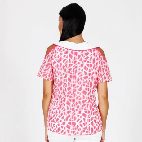 S'Quise Paris: Fuschia Diamonds Cold Shoulder Top