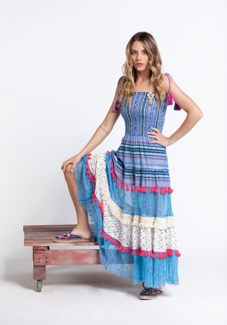 Savage Culture: Pink Tassels Bohemian Batanta Maxi Dress SAVAGE_36690