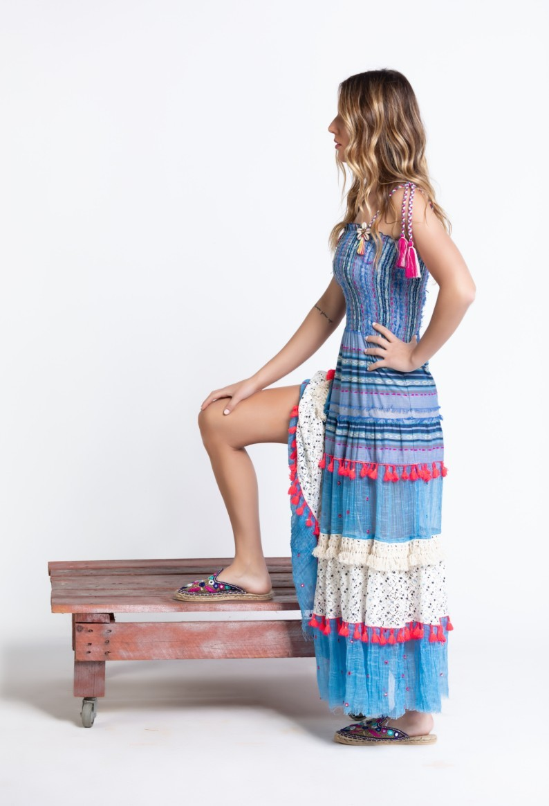 Savage Culture: Pink Tassels Bohemian Batanta Maxi Dress