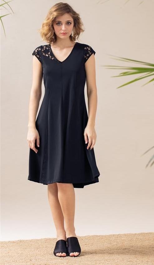 Maloka: Black Rose Flared Midi Dress SOLD OUT MK_KARINE_N