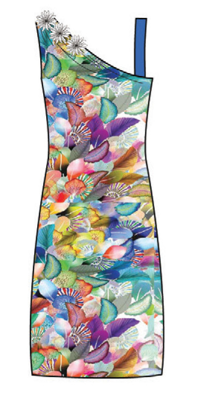 Paul Brial: Colors Of The Water Lily Asymmetrical Dress