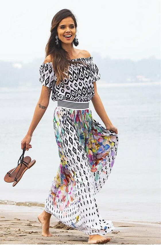 Paul Brial: Colors Of The Water Lily Off Shoulder Maxi Dress PB_MIRAGE