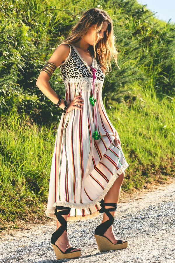 Savage culture: Pink Leopard Boho Maxi Dress SAVAGE_36220