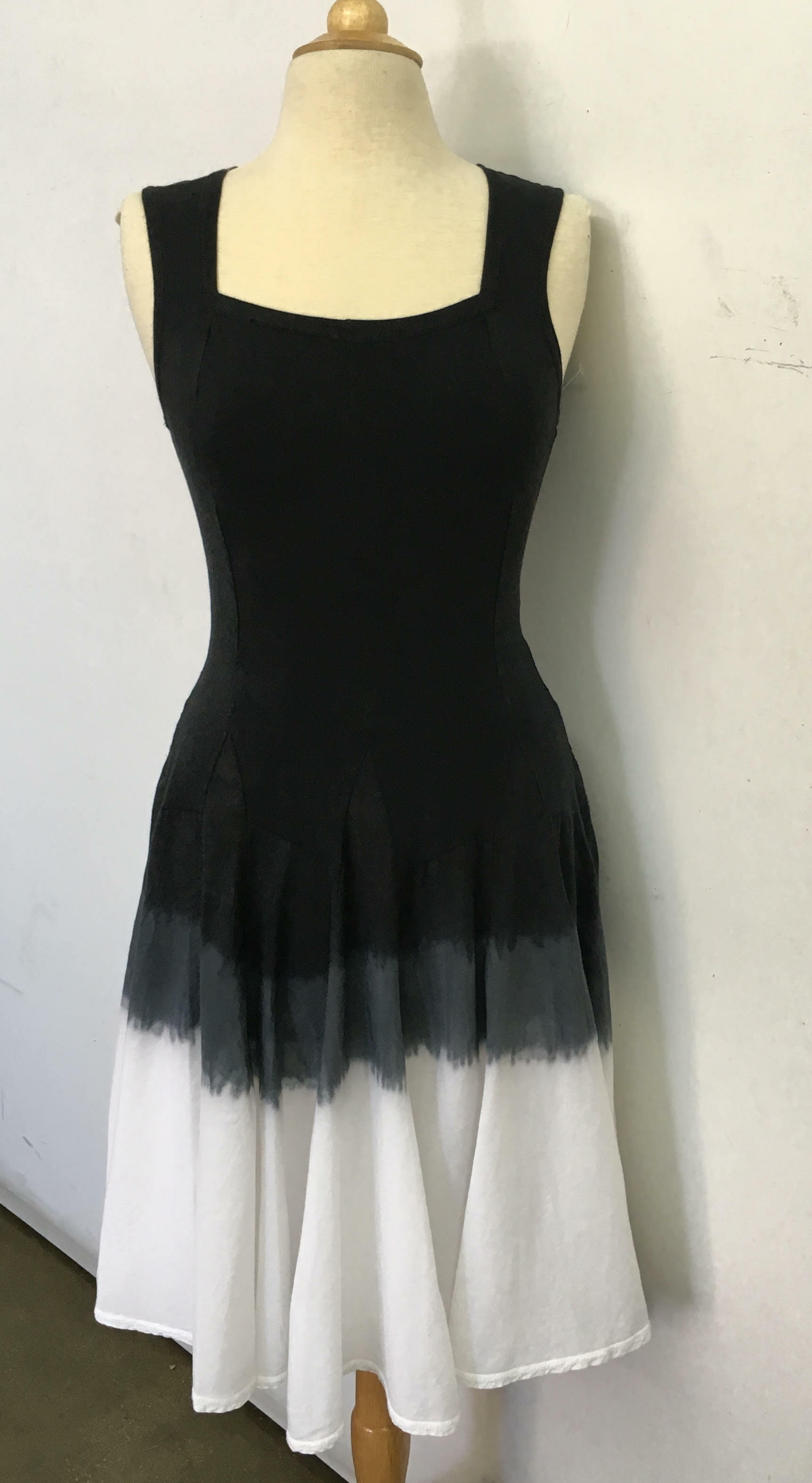 Luna Luz: Godet Dyed Black/White Ombre Square Neck Dress (Ships Immed, 2 Left in Black/White!)