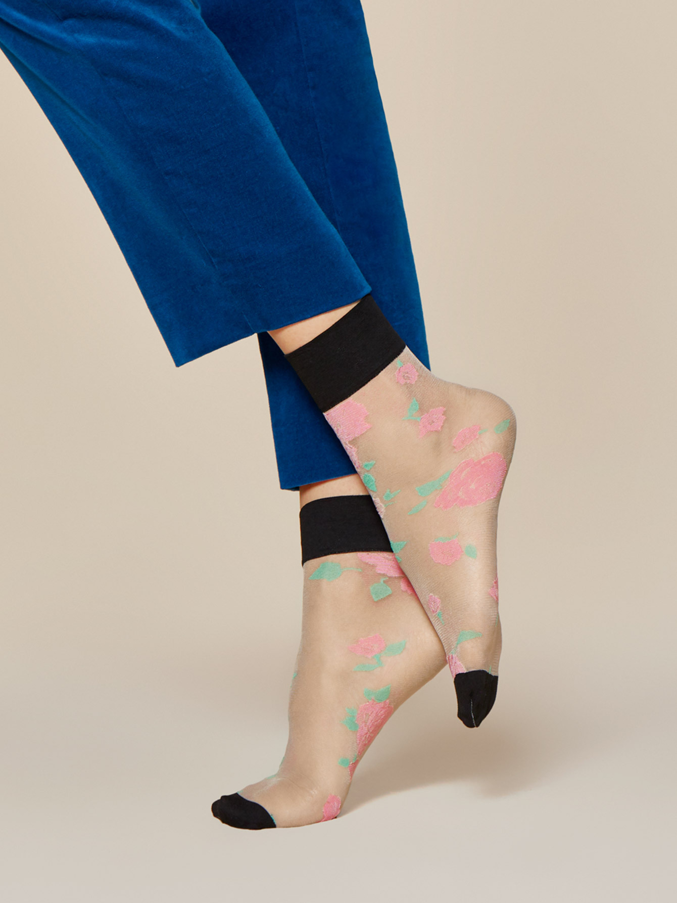 Fiore: Colorblock Blossom Trouser Socks SOLD OUT