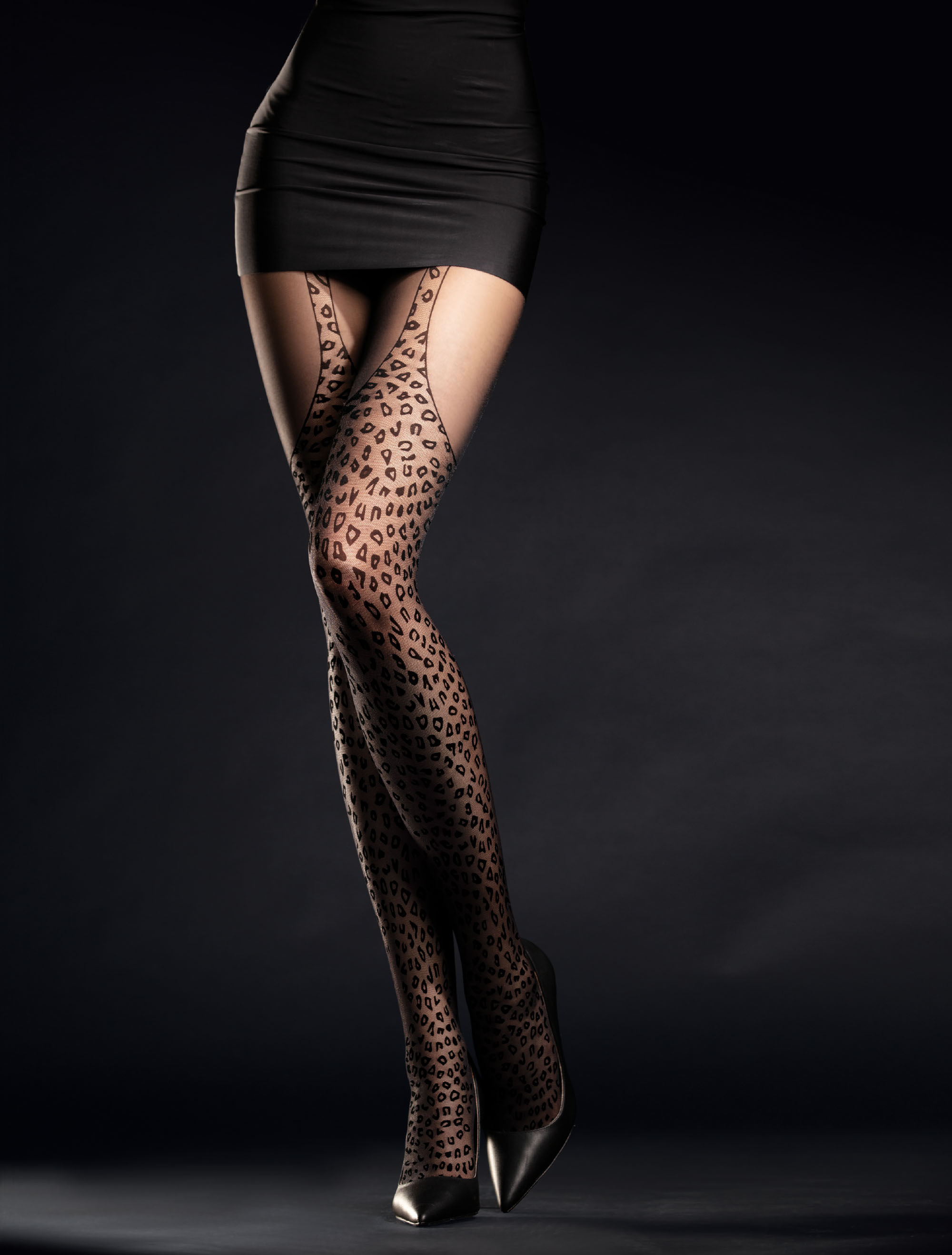 Fiore: Wild Feline Patterned Tights FIORE_HUNTME