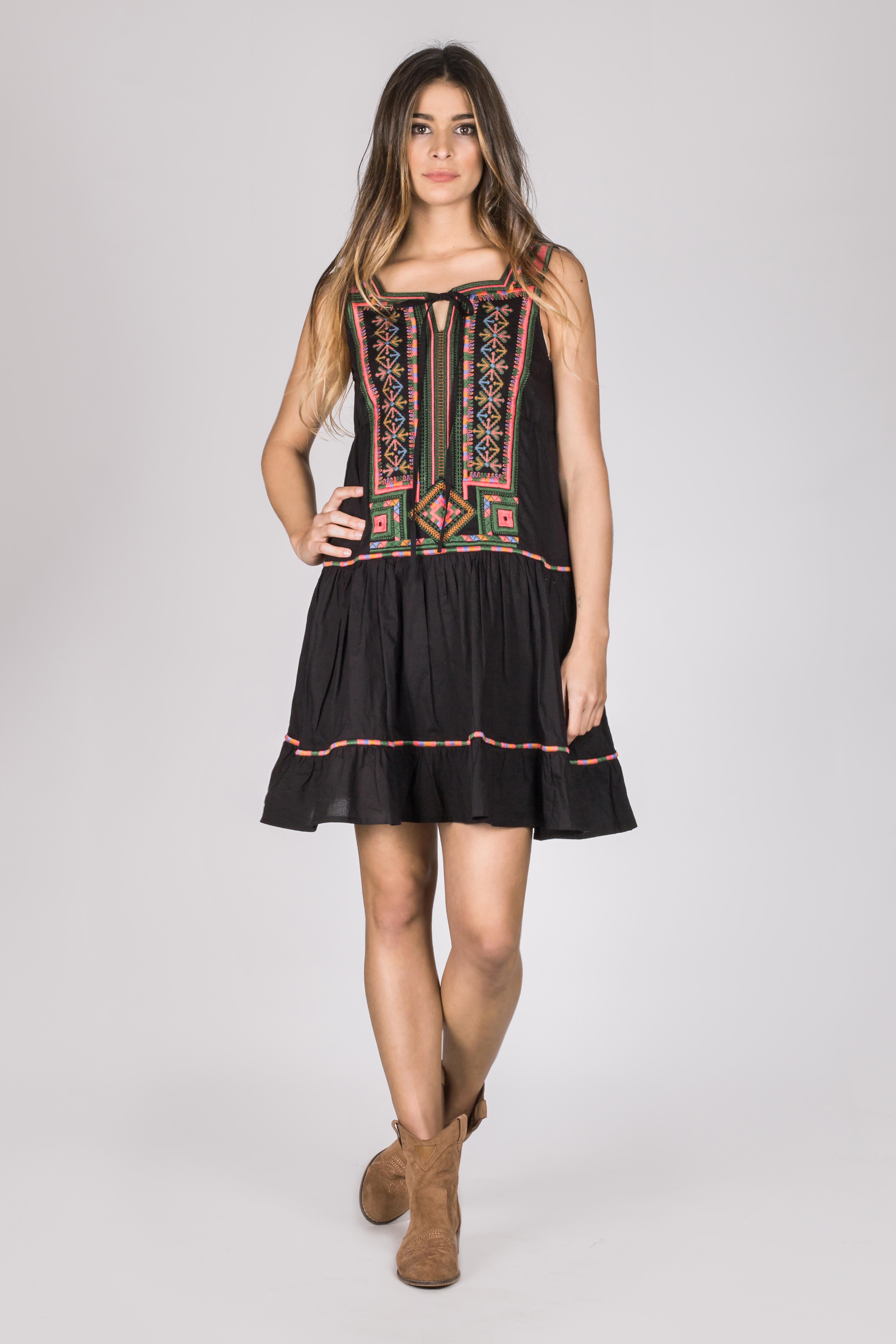 Shoklett: Little Black Embroidered Boho Dress SHOKLETT_10170S19DR