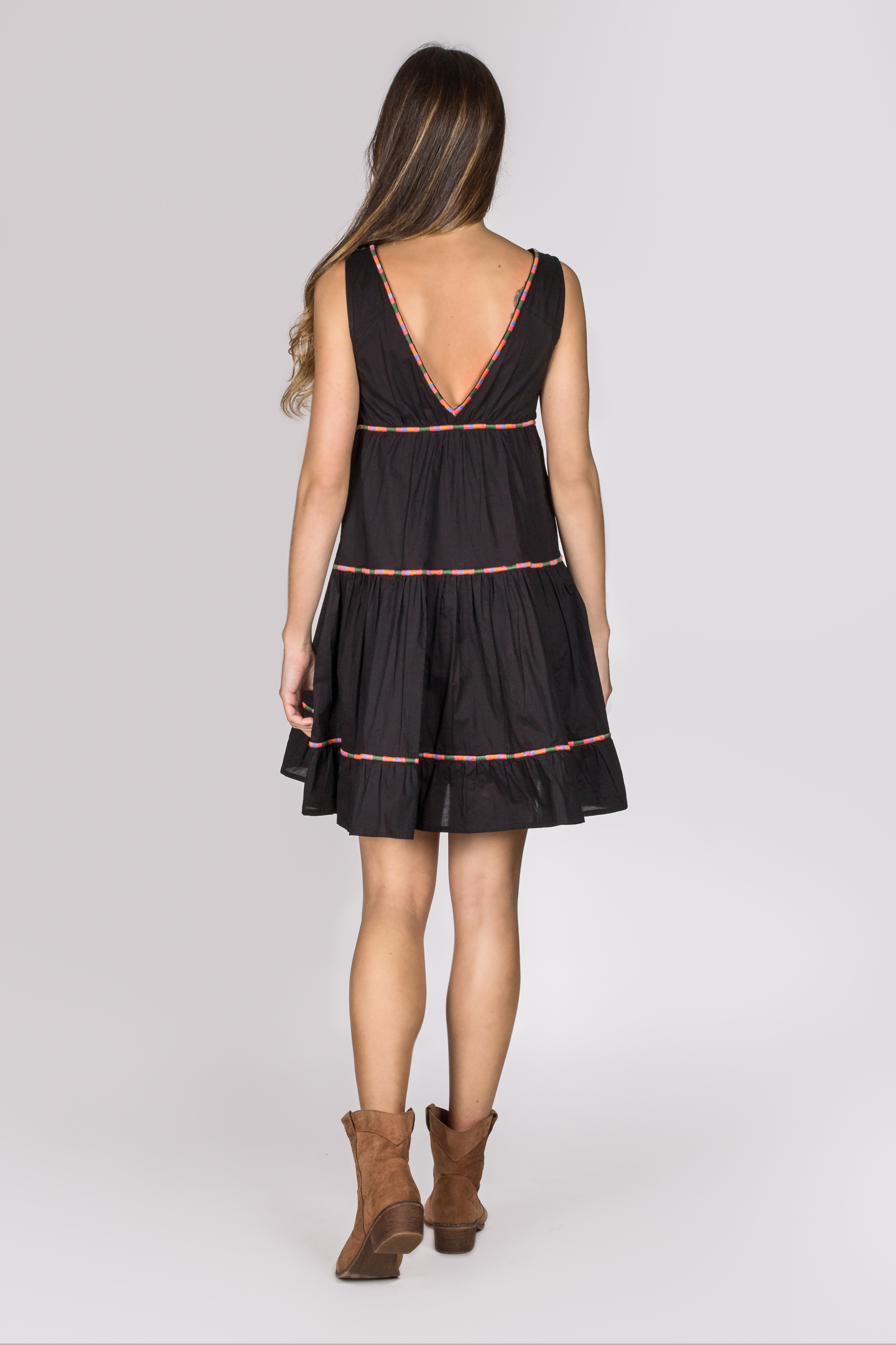 Shoklett: Little Black Embroidered Boho Dress