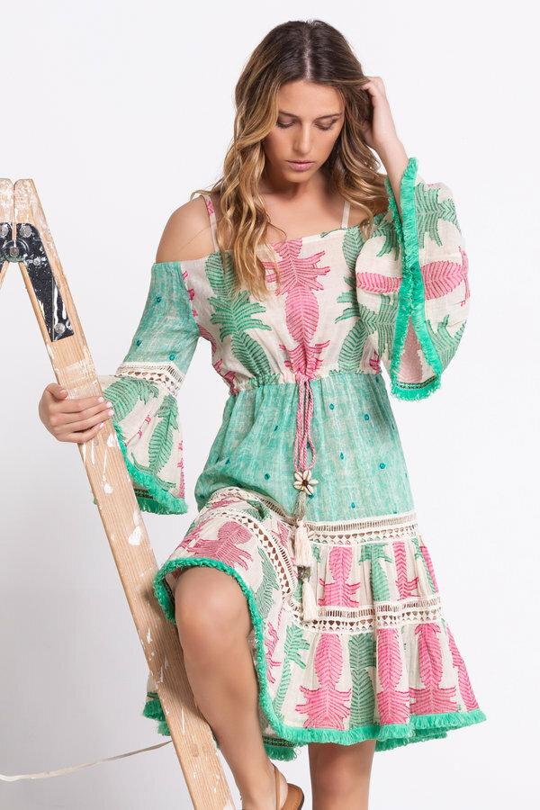 Savage Culture: Pink Mint Off Shoulder Cotton Midi Dress SAVAGE_36652