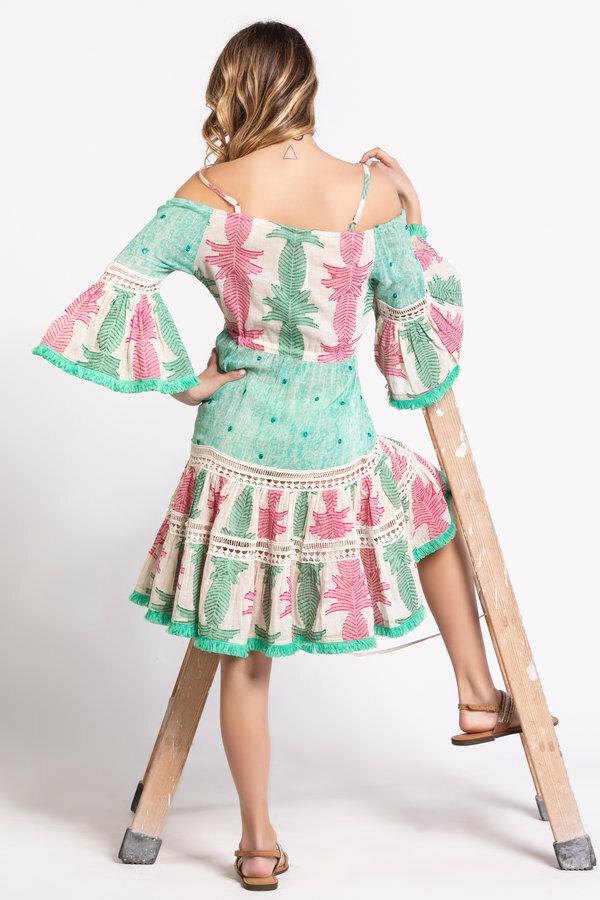 Savage Culture: Pink Mint Off Shoulder Cotton Midi Dress