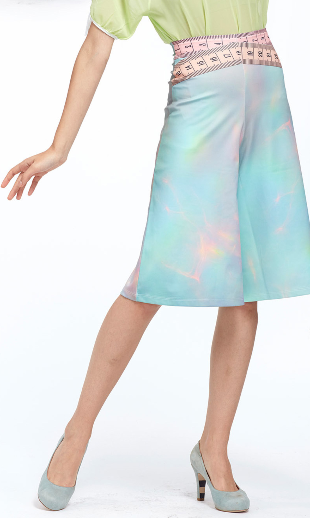 IPNG: Iridescent Pink Mint Lokoometric Illusion Short/Midi Skirt IPNG_LOMSHO-045