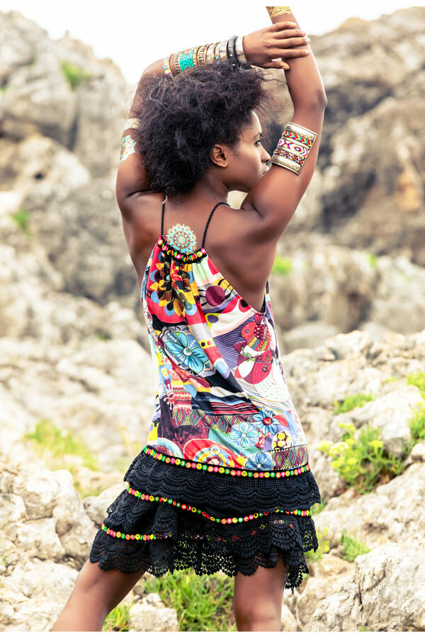 Savage Culture: Prism Flower Pom Pom Dress/Tunic