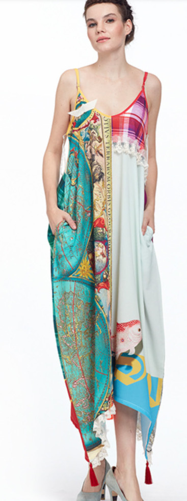 IPNG: The World At Your Paper Boat Trip Pocket Four Corners Maxi Dress