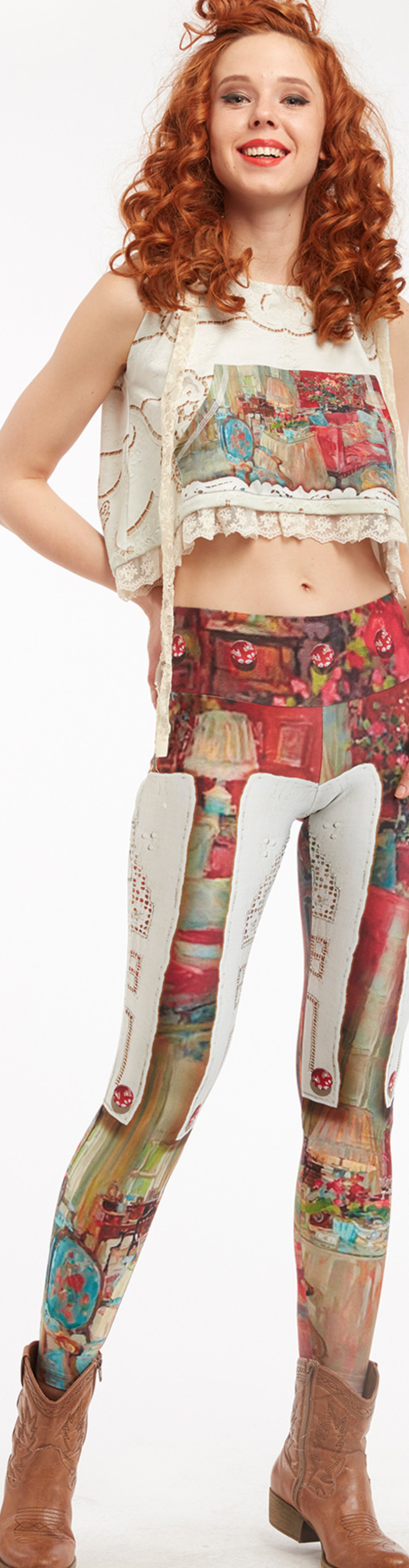 IPNG: Backwards Pink Living Room Illusion Poetic Layers Legging