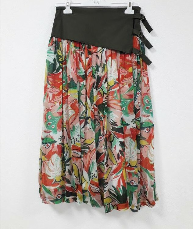 Paul Brial: Tropical Champagne Art Midi Skirt PB_PLAYA