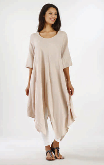 Luna Luz: Asymmetrical Extra Long Linen Tunic (Ships Immed in Linen and Lapis Blue!)