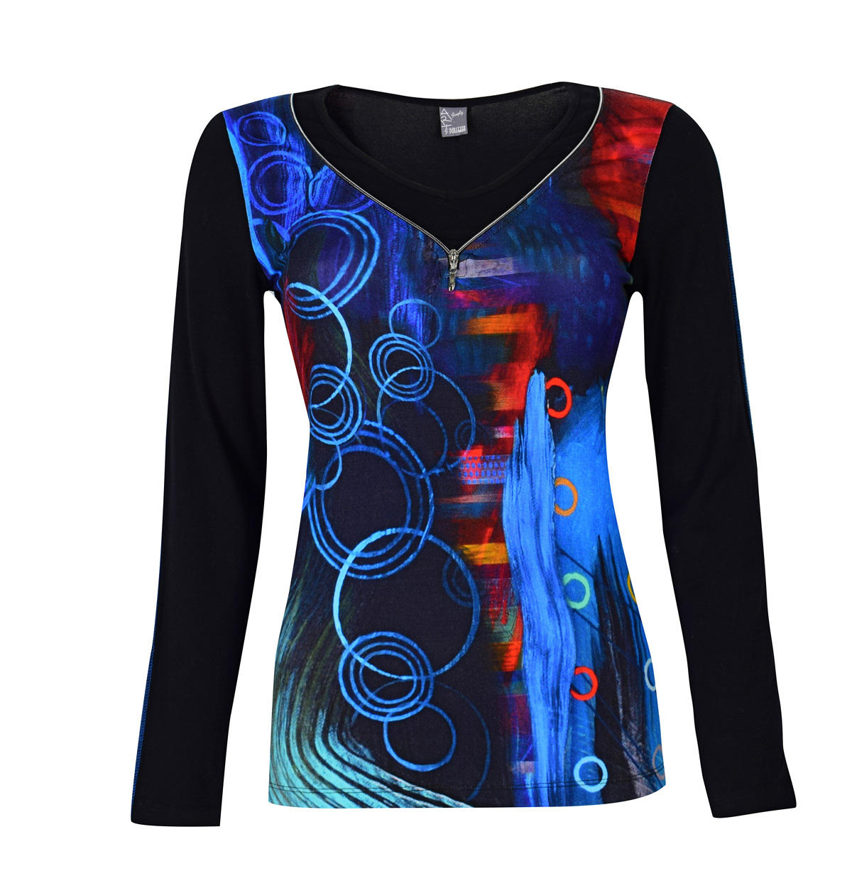 Simply Art Dolcezza: Distilling Color Zip Neck Abstract Art Top (1 Left!)