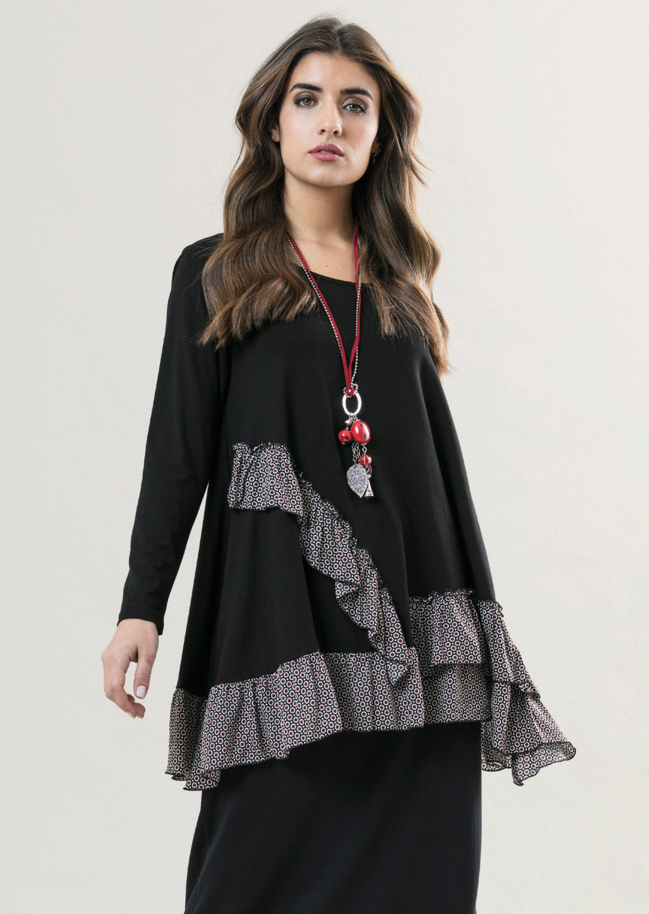 G!oze France: Asymmetrical Ruffles Flared Bubble Tunic (2 Left!) G_CADILLAC