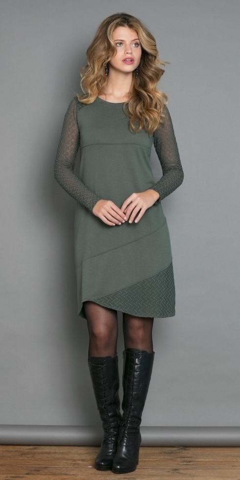 Maloka: Lush Lashes Asymmetrical Tricot Dress (Only Olive & Blue Marine Left!) MK__OIELLET_N
