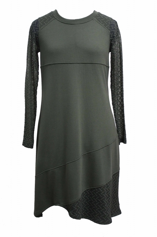 Maloka: Lush Lashes Asymmetrical Tricot Dress (Only Olive & Blue Marine Left!)
