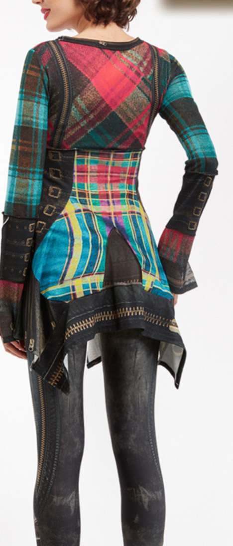 IPNG: Biker Chic Let It Snow Plaid Illusion Asymmetrical Tunic