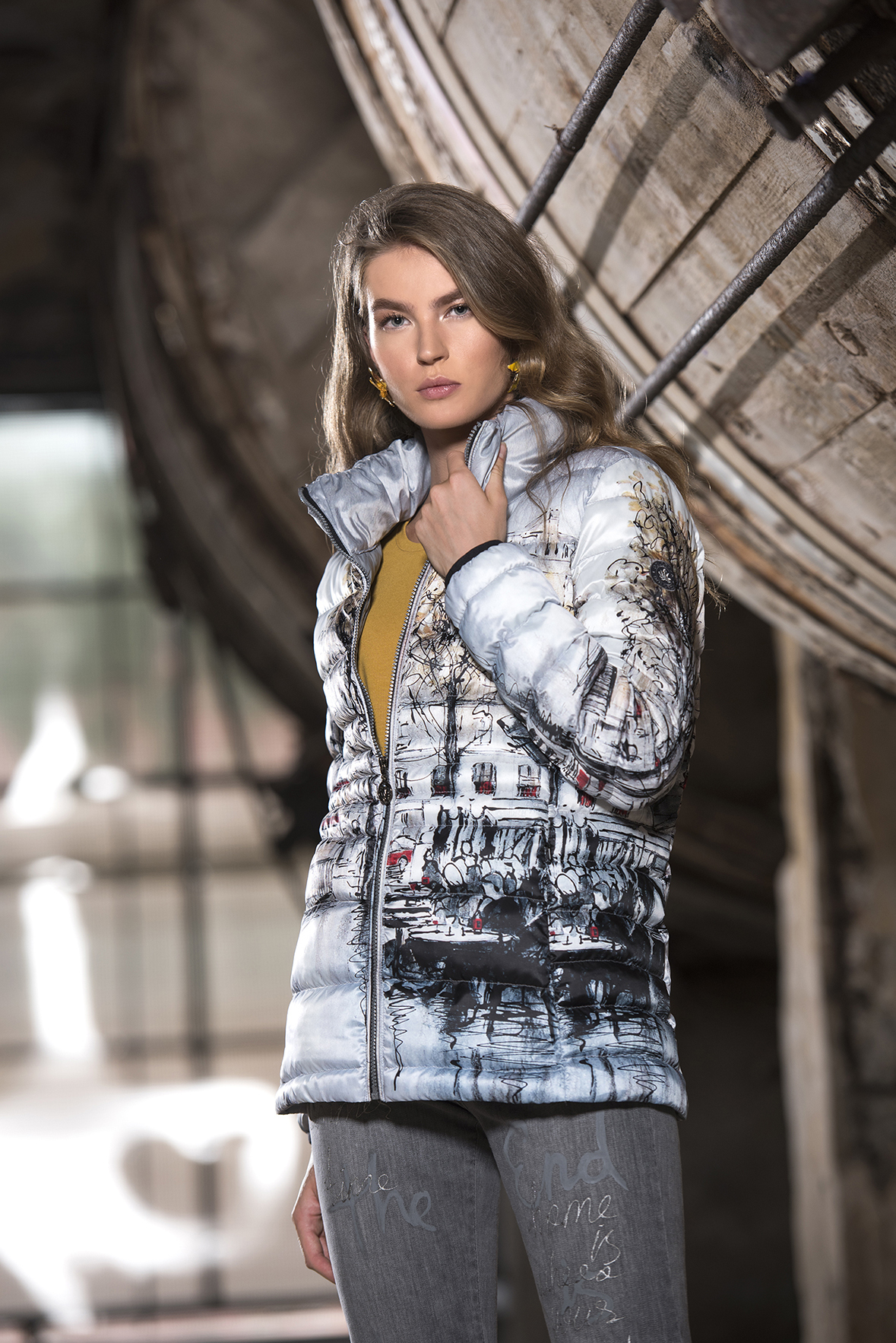 Simply Art Dolcezza: Parisian Life Abstract Art Puffer Jacket SOLD OUT Dolcezza_SimplyArt_59821_N