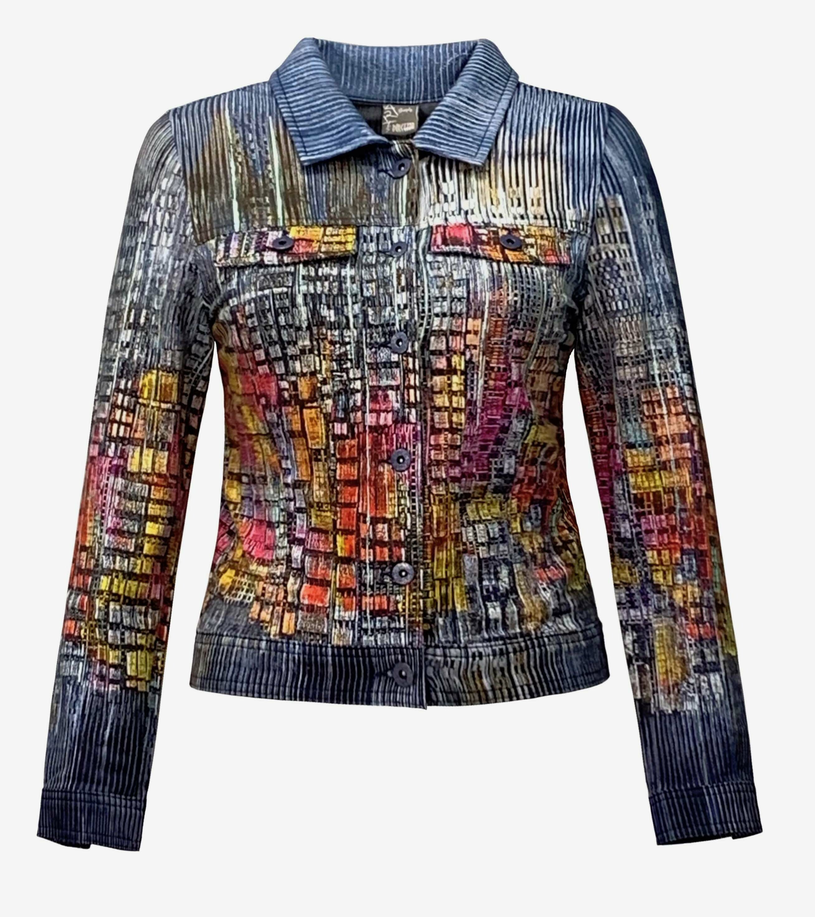 Simply Art Dolcezza: Papillons Of The Night Abstract Art Soft Denim Jacket (1 Left!) Dolcezza_SimplyArt_59735_N