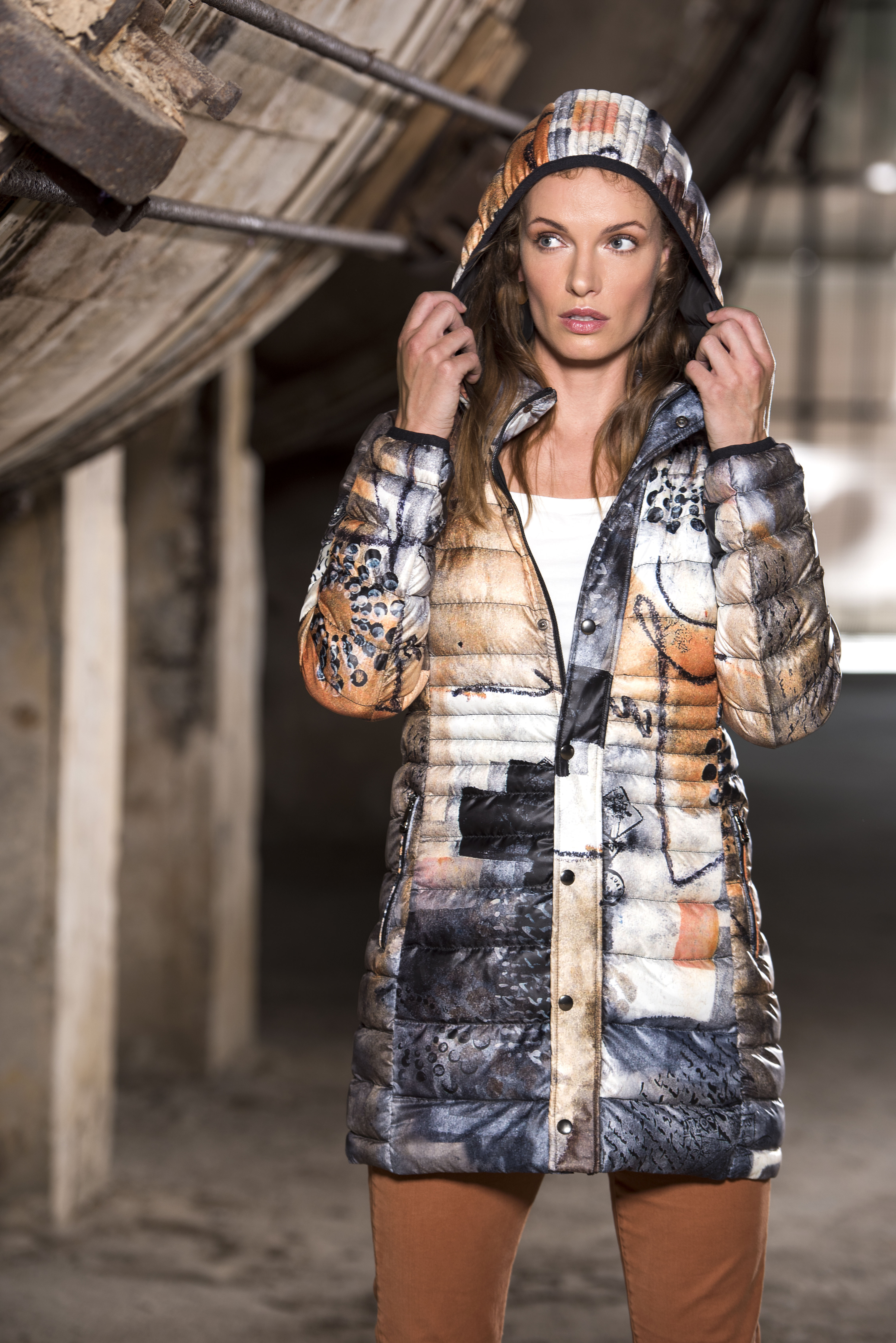 Simply Art Dolcezza: Romantic Rhythm Quilled Abstract Art Puffer Coat (2 Left!) Dolcezza_SimplyArt_59870_N
